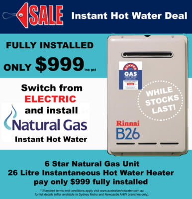 Electric to Gas Instantaneous Hot Water Deal