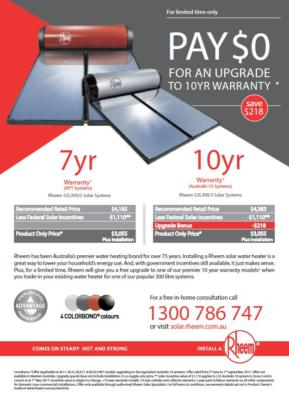 Rheem Solar Warranty Upgrade Promo