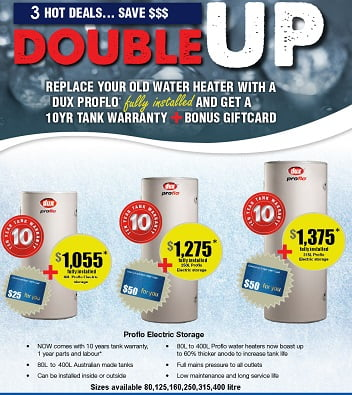Dux Double Up Warranty plus Giftcard