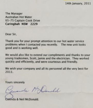 Aust Hot Water South Testimonial