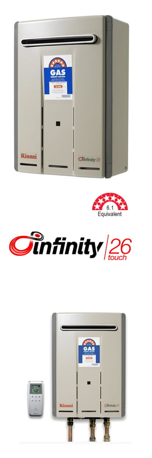 Rinnai Infinity 26 Touch available through your local, authorised agents at Australian Hot Water