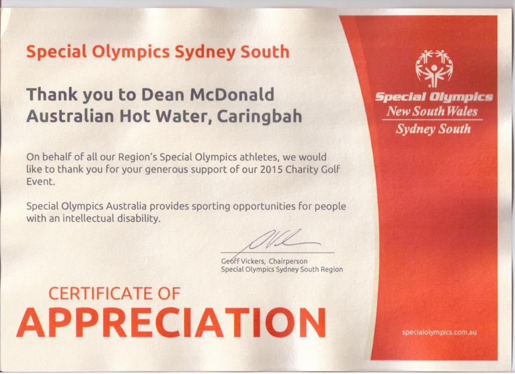Special olympics Sydney South - Appreciaton 001
