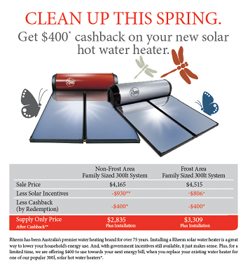 $400 Cashback on Rheem Solar - Offer finished