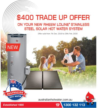 $400 Trade up to Rheem Solar