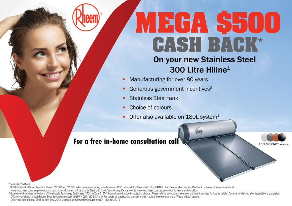 Rheem Solar $500 Cash Back
