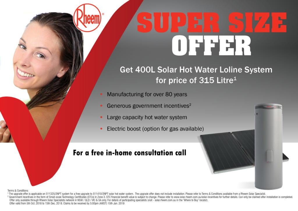 Rheem Super Size 400 litre Solar water heater