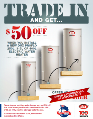 Trade in and SAVE $50.00 with Dux -Extended till 31st October