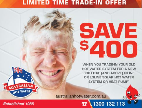 $400. Trade in on Rheem Solar & Heat Pump water heaters.