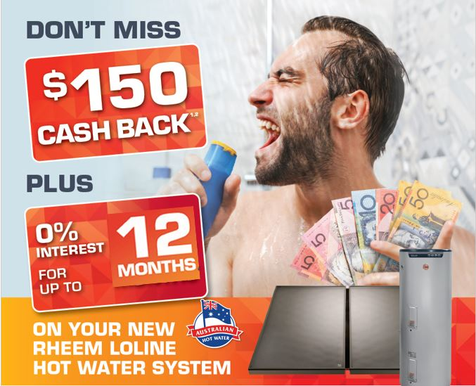 $150 Cash Back Rheem loline Solar with 12 months interest free