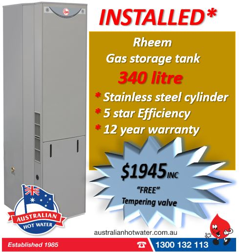 Natural Gas Rheem 340 litre 5 star $1945. Installed