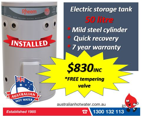 Rheem 50 litre Installed Spring Specials
