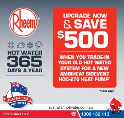 $500 Trade in when you install a Rheem Ambiheat Heat Pump water heater